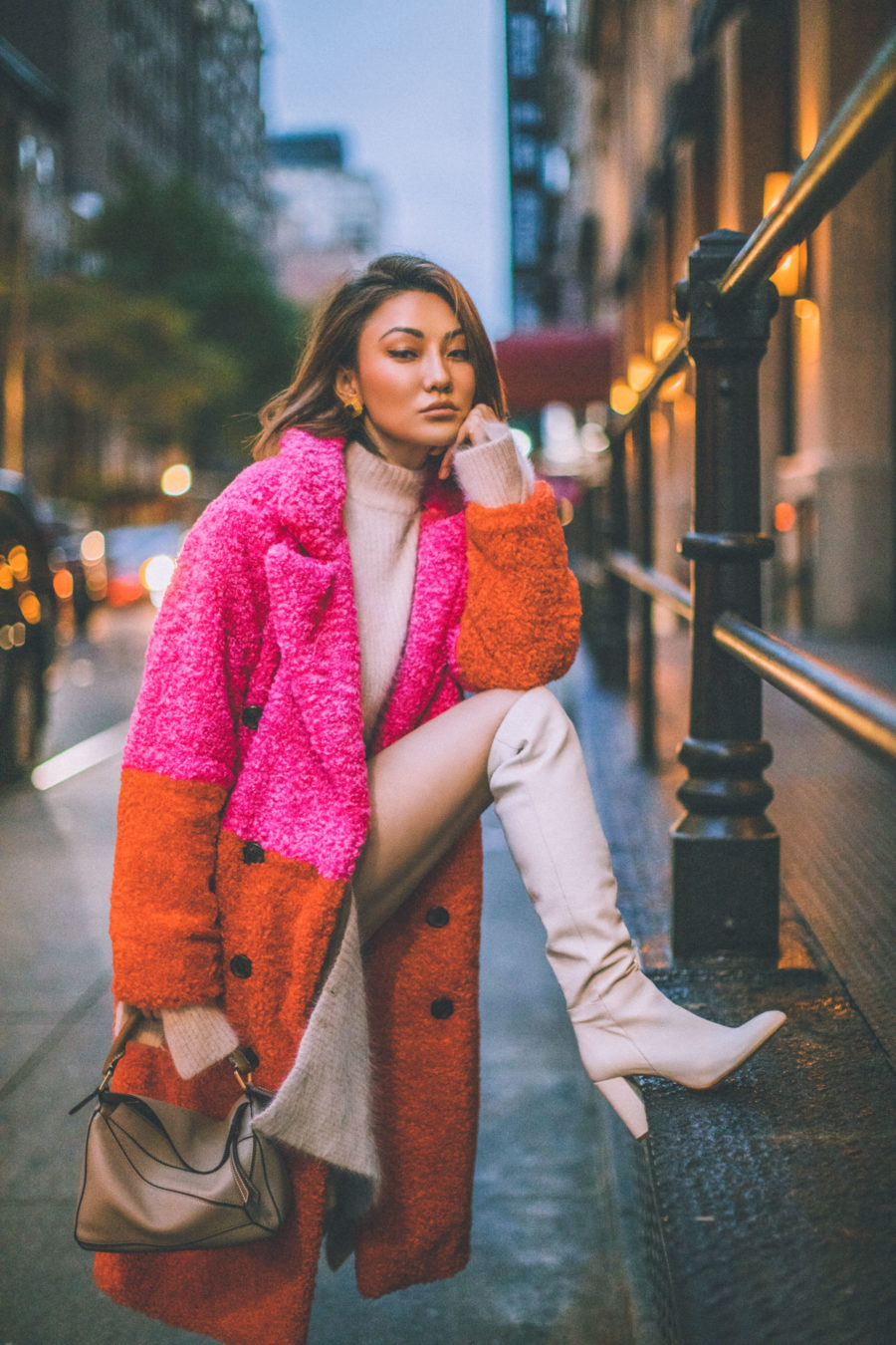 fashion blogger jessica wang shares holiday outfit ideas wearing matching knit set and blank nyc color block coat // Notjessfashion.com