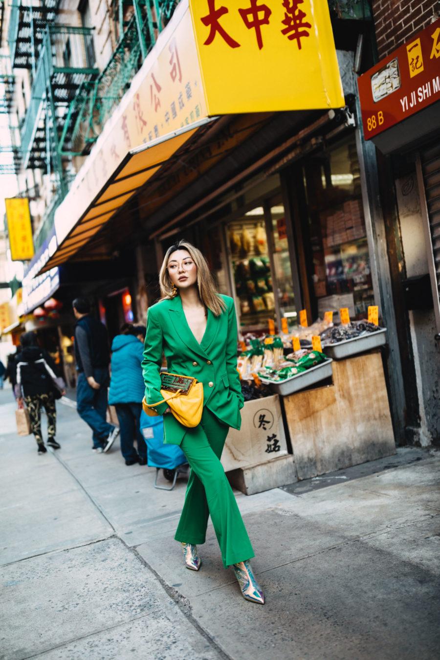 green blazer, laveer blazer, green suit and metallic boots, oversized vintage fendi bag // Notjessfashion.com