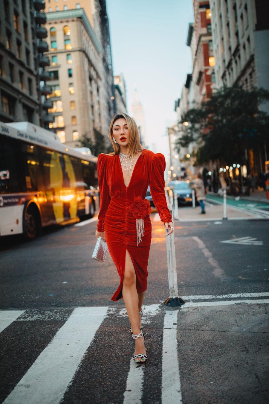 fashion blogger jessica wang wearing Marianna Senchina Velvet Midi dress and chain heels with silver clutch // Notjessfashion.com
