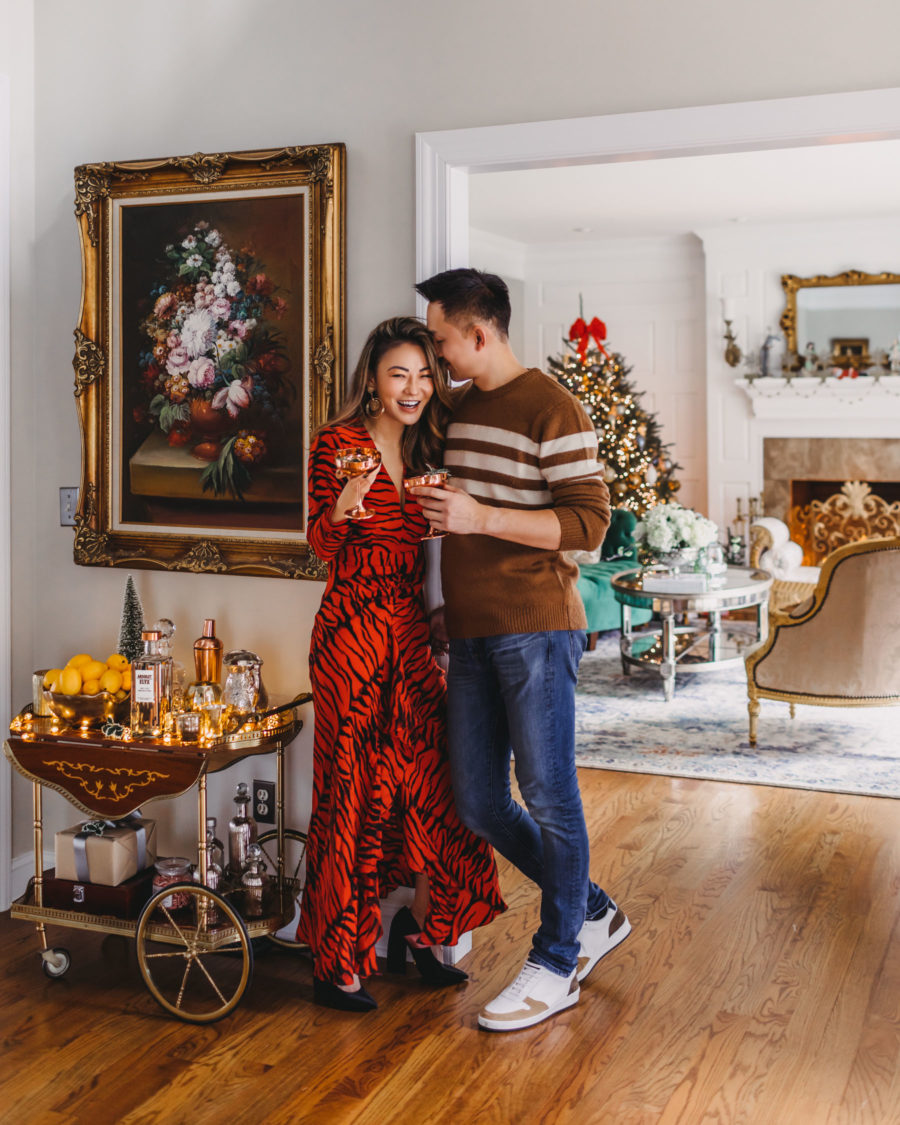 jessica wang wears rixo tiger print dress and shares the best fits for him for christmas // Notjessfashion.com