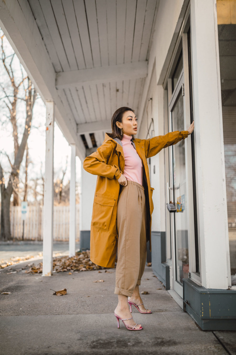 fashion blogger jessica wang wears Nike winter coat with a sleek workwear pieces // Notjessfashion.com