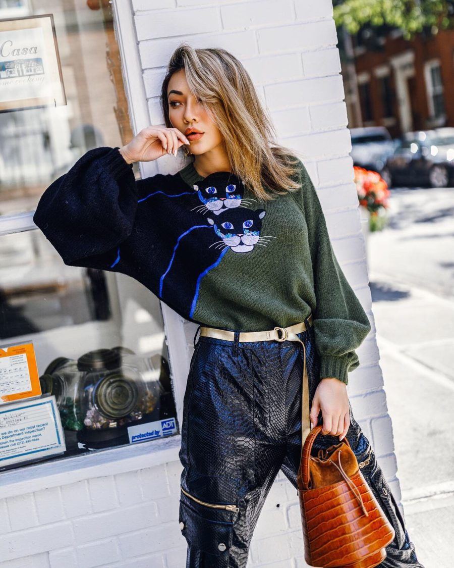 fashion blogger jessica wang wears cat sweater and shares different ways to track your blog's growth in 2020 // Notjessfashion.com