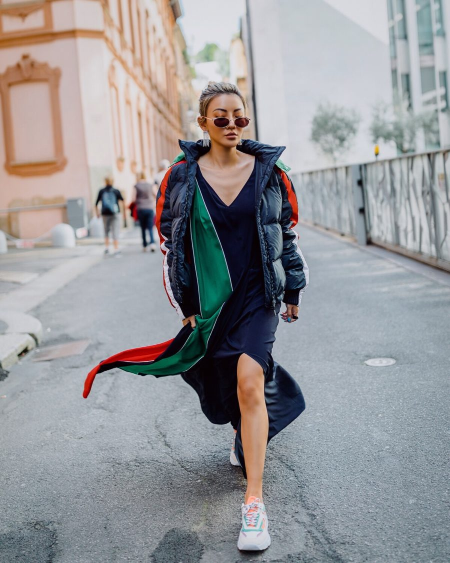 puffer coat and slip dress outfit with sneakers // Notjessfashion.com