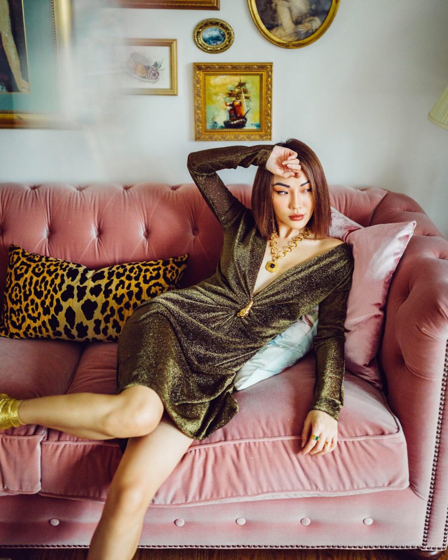 fashion blogger jessica wang shares valentine's day outfits wearing a metallic velvet cocktail dress // Notjessfashion.com
