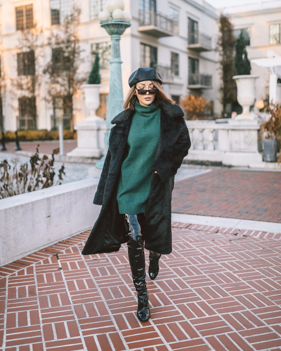 fashion blogger jessica wang wears shearling jacket green tunic sweater and patent leather over the knee boots while sharing ways to track your blog's growth in 2020 // Notjessfashion.com