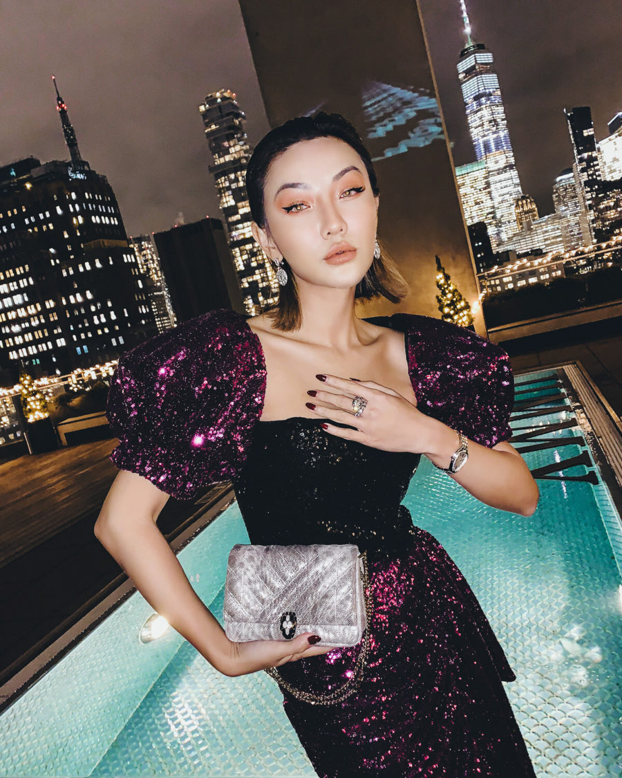 fashion blogger jessica wang shares valentine's day outfits wearing a sequin puff sleeve dress // Notjessfashion.com