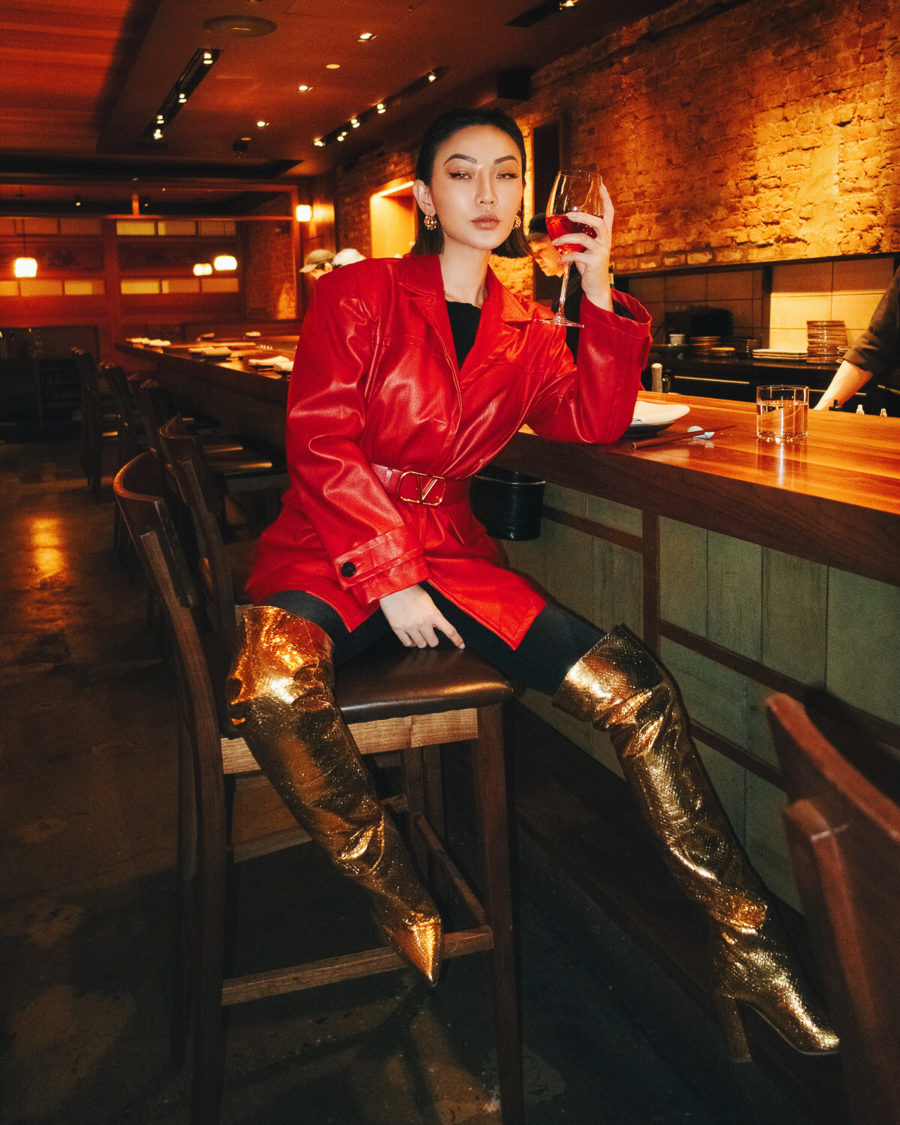 chinese new year inspired outfits featuring red leather jacket and gold over the knee boots // Notjessfashion.com