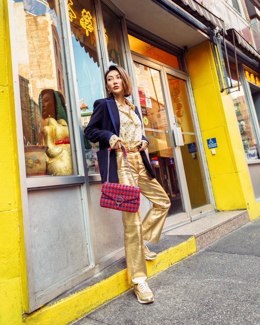 chinese new year inspired outfits featuring gold outfit and navy blazer // Notjessfashion.com