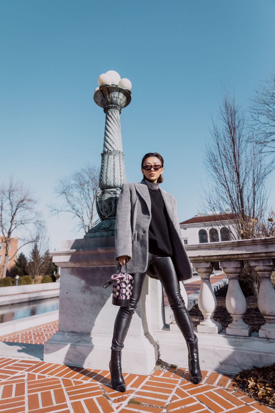 fashion blogger jessica wang wears smart investment pieces featuring alexander wang blazer and rhinestone sweater // Notjessfashion.com