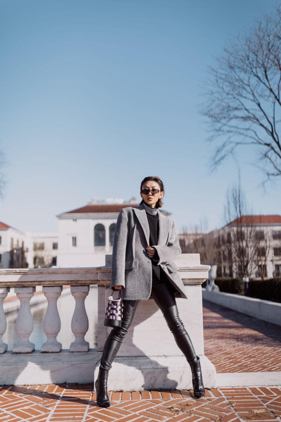 fashion blogger jessica wang wears alexander wang blazer leather leggings rhinestone sweater and caged handbag // Notjessfashion.com