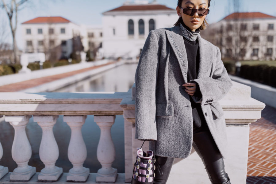 fashion blogger jessica wang shares ways to look more sophisticated on a budget wearing alexander wang gray blazer // Notjessfashion.com