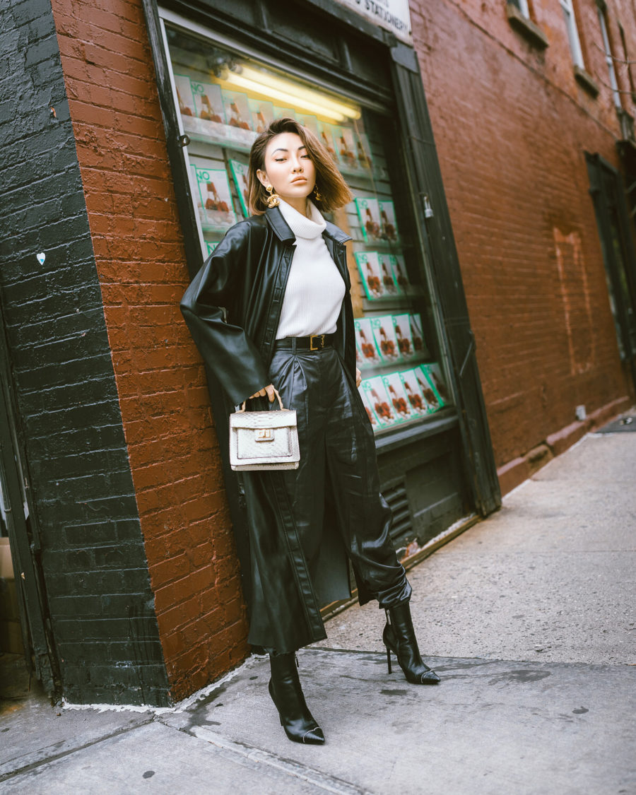 fashion blogger jessica wang shares ways to look more sophisticated on a budget wearing a leather trench coat and leather pants // Notjessfashion.com