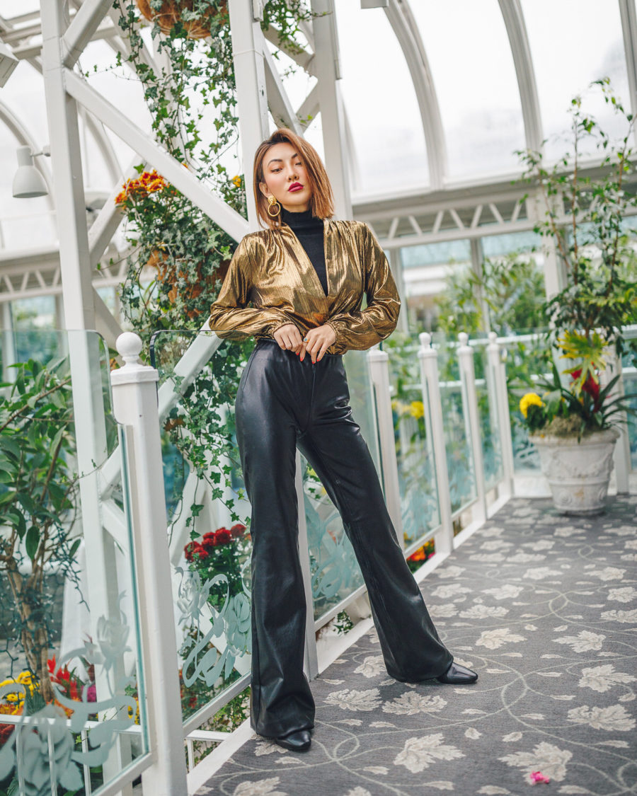 fashion blogger jessica wang shares ways to look more sophisticated on a budget wearing a gold blouse with flared trousers // Notjessfashion.com