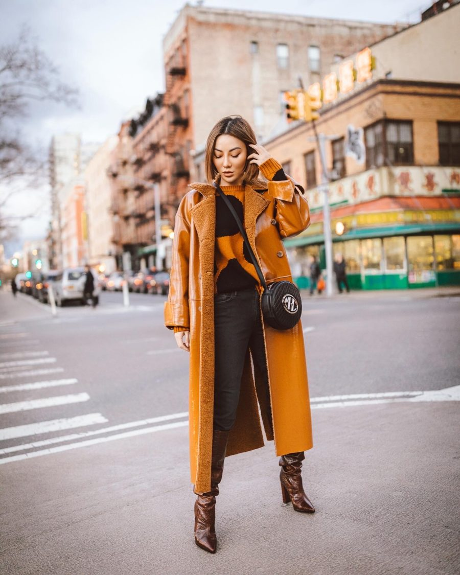 fashion blogger jessica wang shares new fashion brands in 2020 wearing chinti & parker sweater and shearling coat // Notjessfashion.com